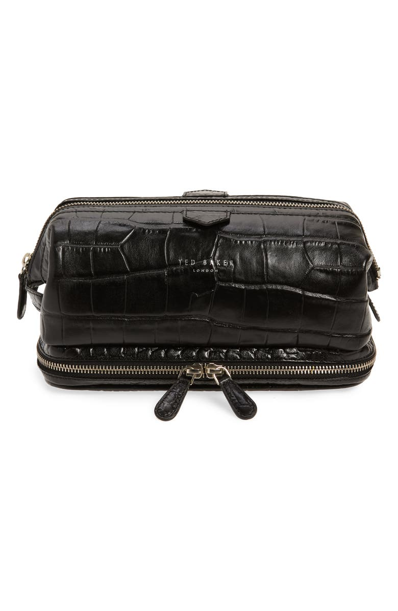 TED BAKER LONDON Croc Embossed Leather Dopp Kit, Main, color, BLACK