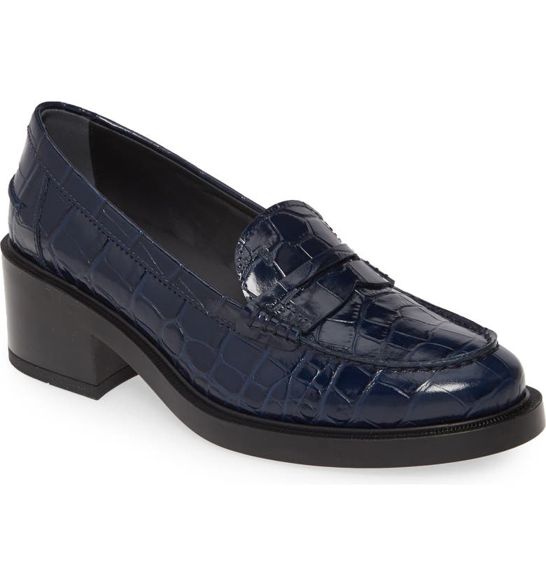 TOD'S Croc-Embossed Loafer Pump, Main, color, NAVY