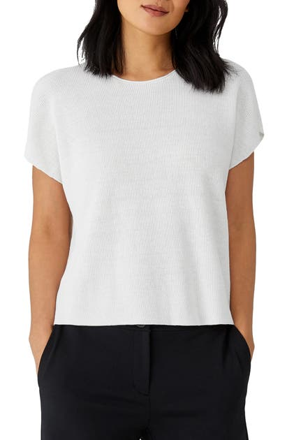 Eileen Fisher RIB KNIT ORGANIC LINEN BLEND BOX TOP