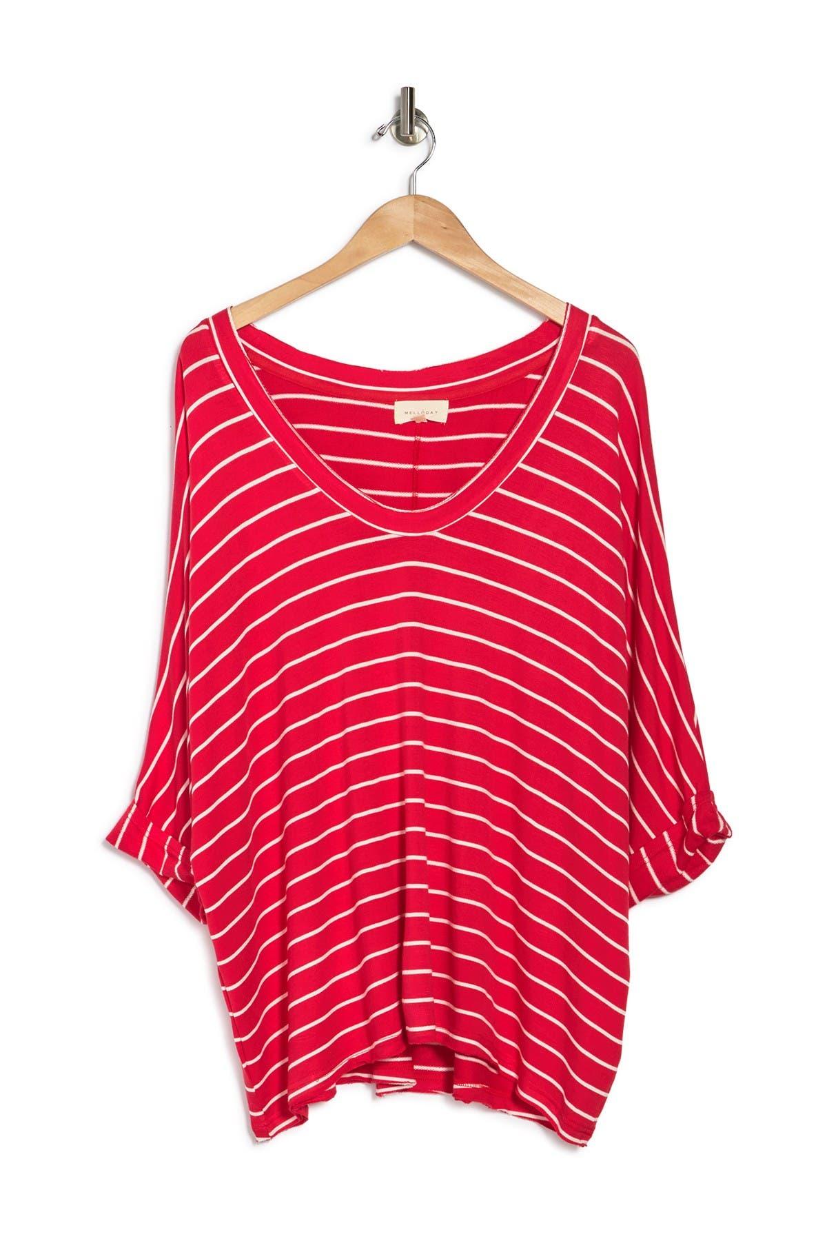 Melloday Dolman Roll Sleeve Stripe Top In Red/ivory Stripe