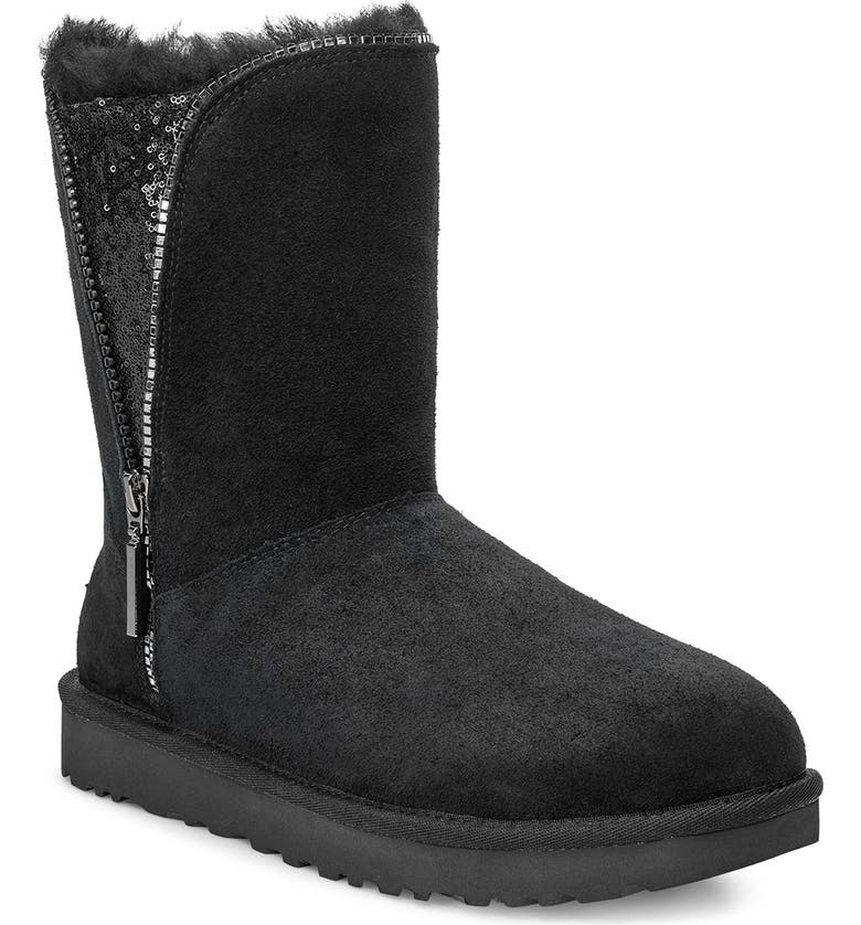 UGG<SUP>®</SUP> Classic Sequin Inset Zip Boot, Main, color, BLACK SUEDE