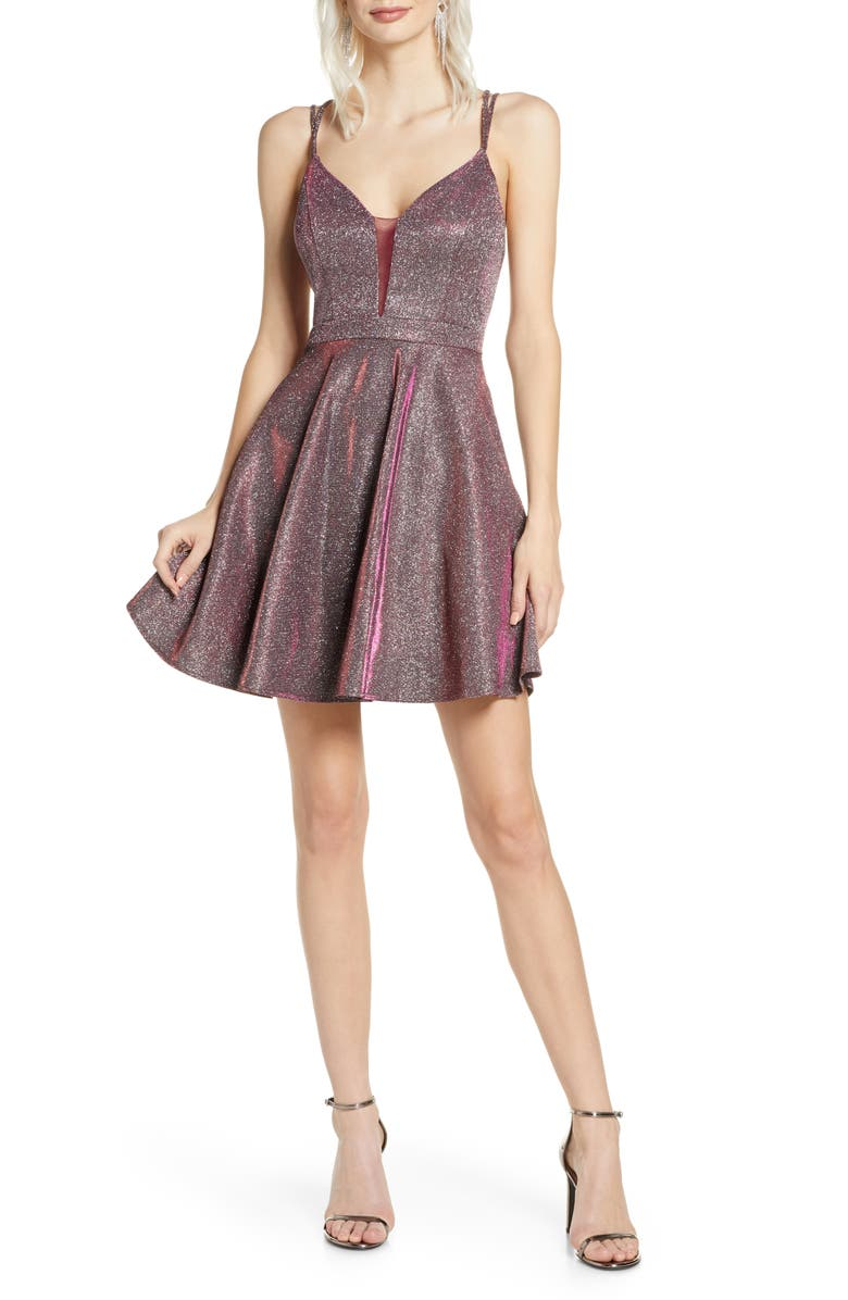 SEQUIN HEARTS Iridescent Fit & Flare Dress, Main, color, 601