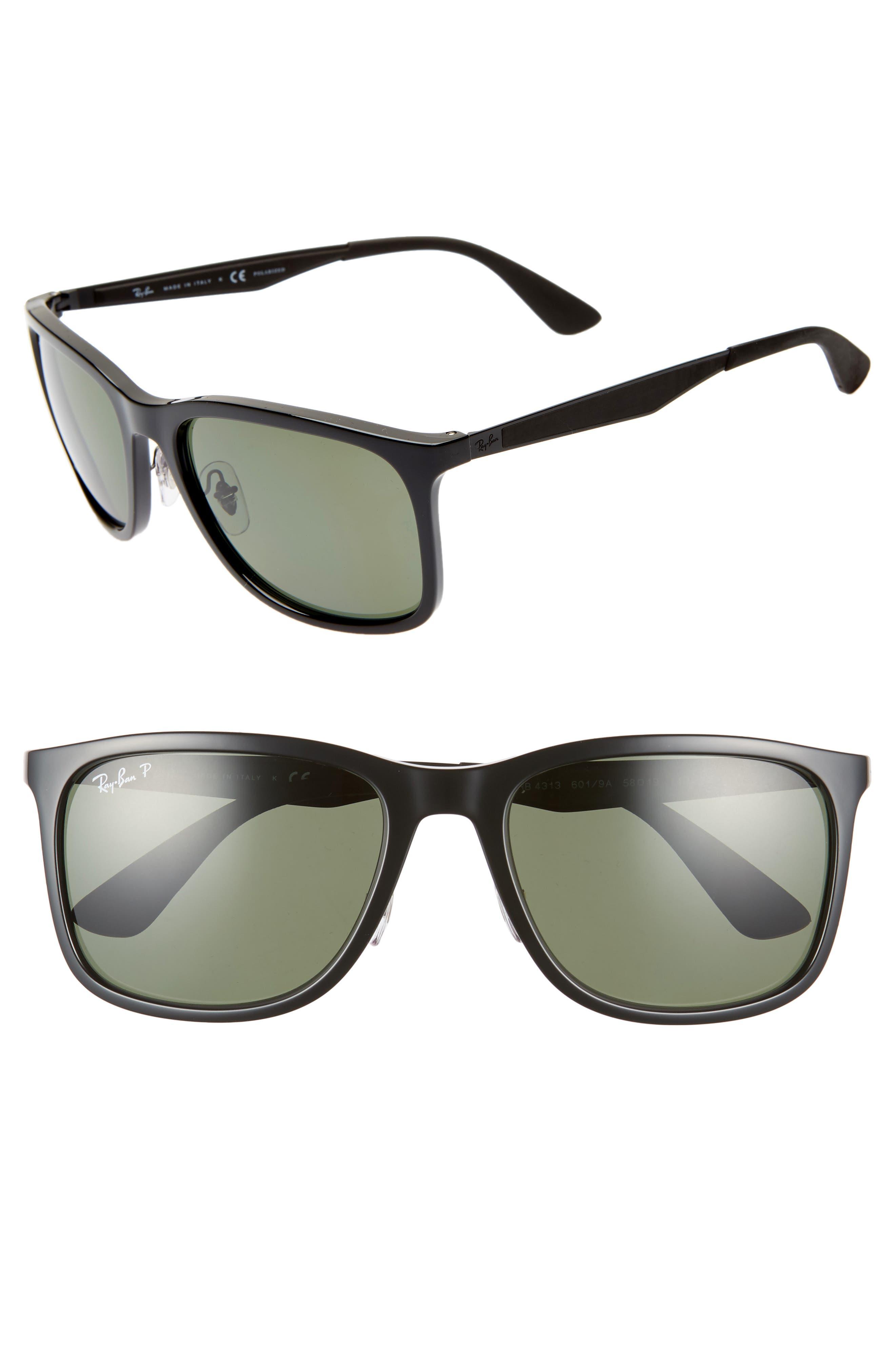 58mm Polarized Sunglasses, Main, color, BLACK