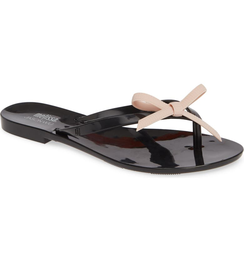 MELISSA Harmonic Bow Jelly Flip Flop, Main, color, BLACK PINK RUBBER