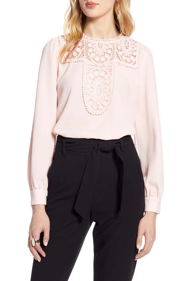 HALOGEN<SUP>®</SUP> Lace & Crepe Blouse, Main, color, BLUSH