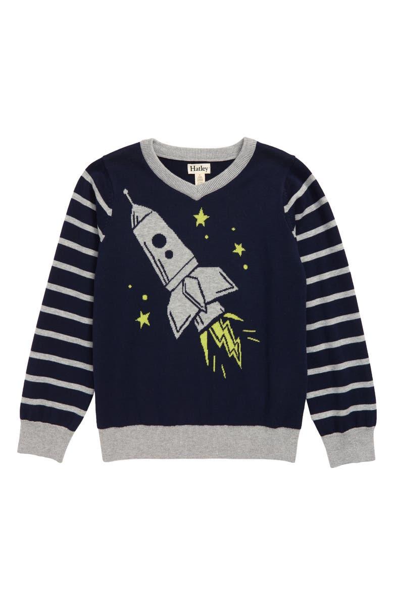HATLEY Rocket Ship Intarsia Sweater, Main, color, BLUE