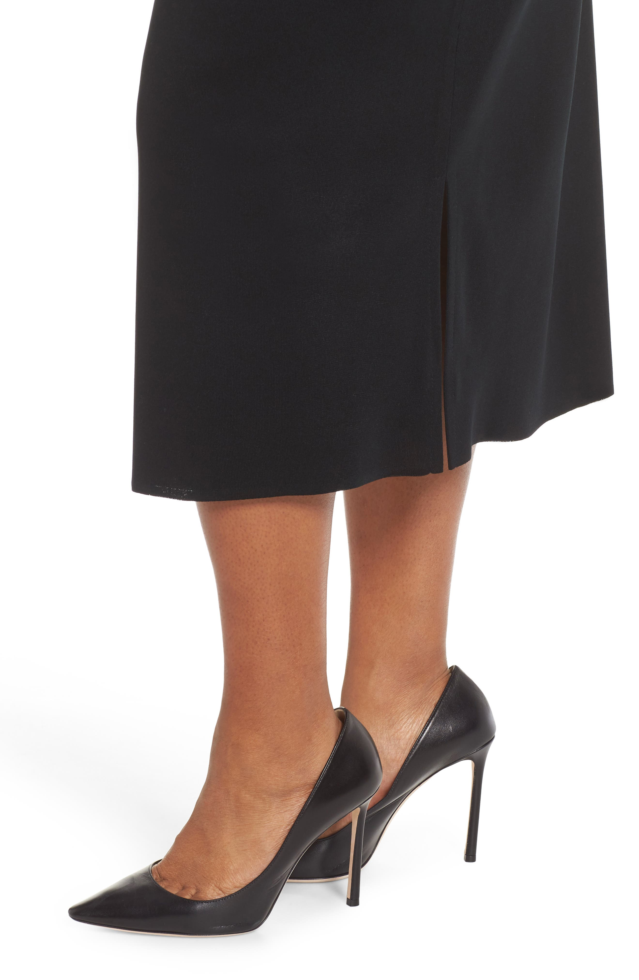 ,                             Knit Midi Skirt,                             Alternate thumbnail 4, color,                             BLACK