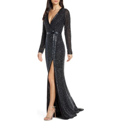 MAC Duggal Long Sleeve Beaded Gown, Black