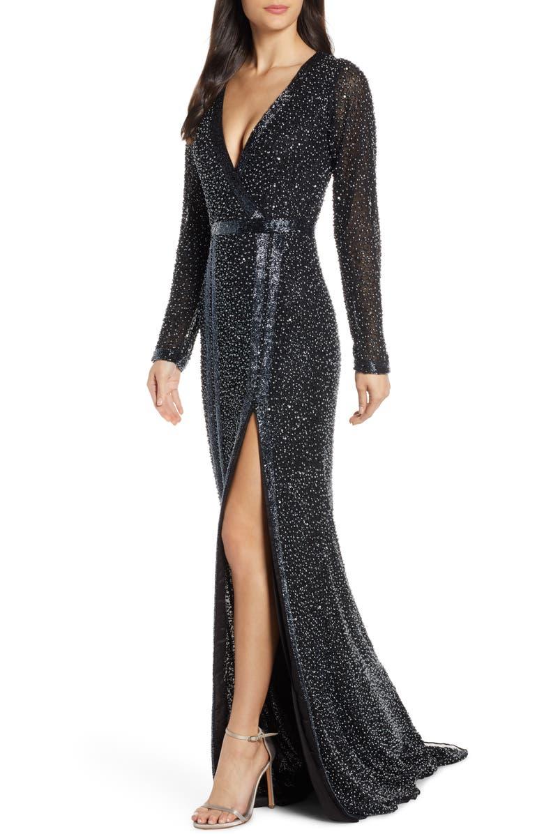 MAC DUGGAL Long Sleeve Beaded Gown, Main, color, BLACK PEARL