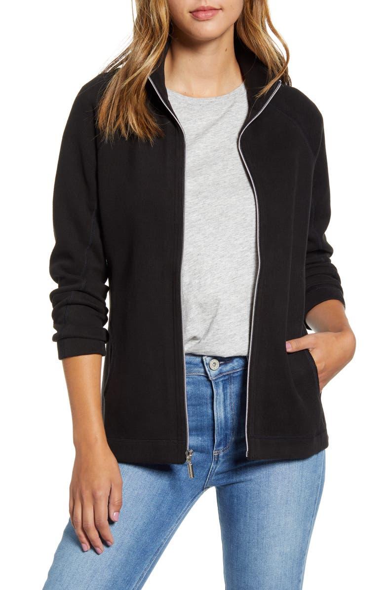 TOMMY BAHAMA New Aruba Zip Front Stretch Cotton Jacket, Main, color, BLACK