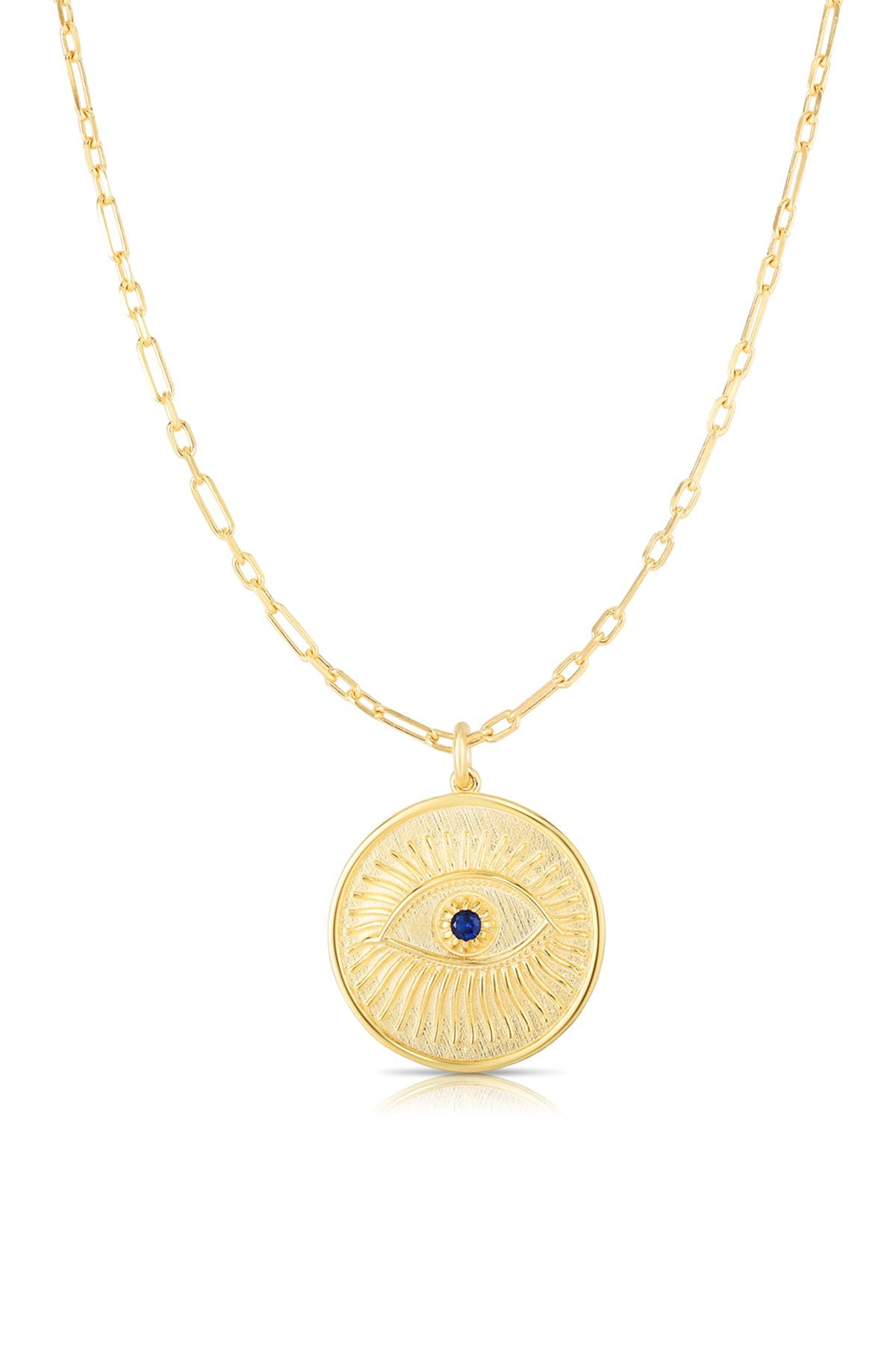 Image of Sphera Milano 14K Gold Vermeil CZ Evil Eye Medallion Pendant Necklace
