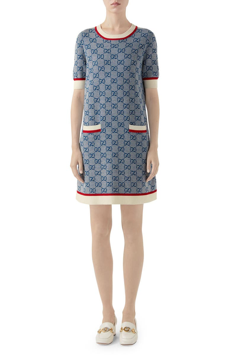 GUCCI GG Logo Jacquard Shift Sweater Dress, Main, color, FADED LIGHT BLUE/ MIX