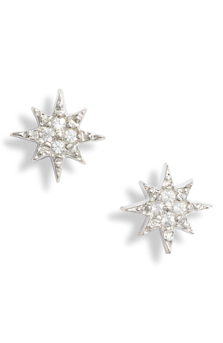 ANZIE Starburst Stud Earrings, Main, color, SILVER/ WHITE SAPPHIRE