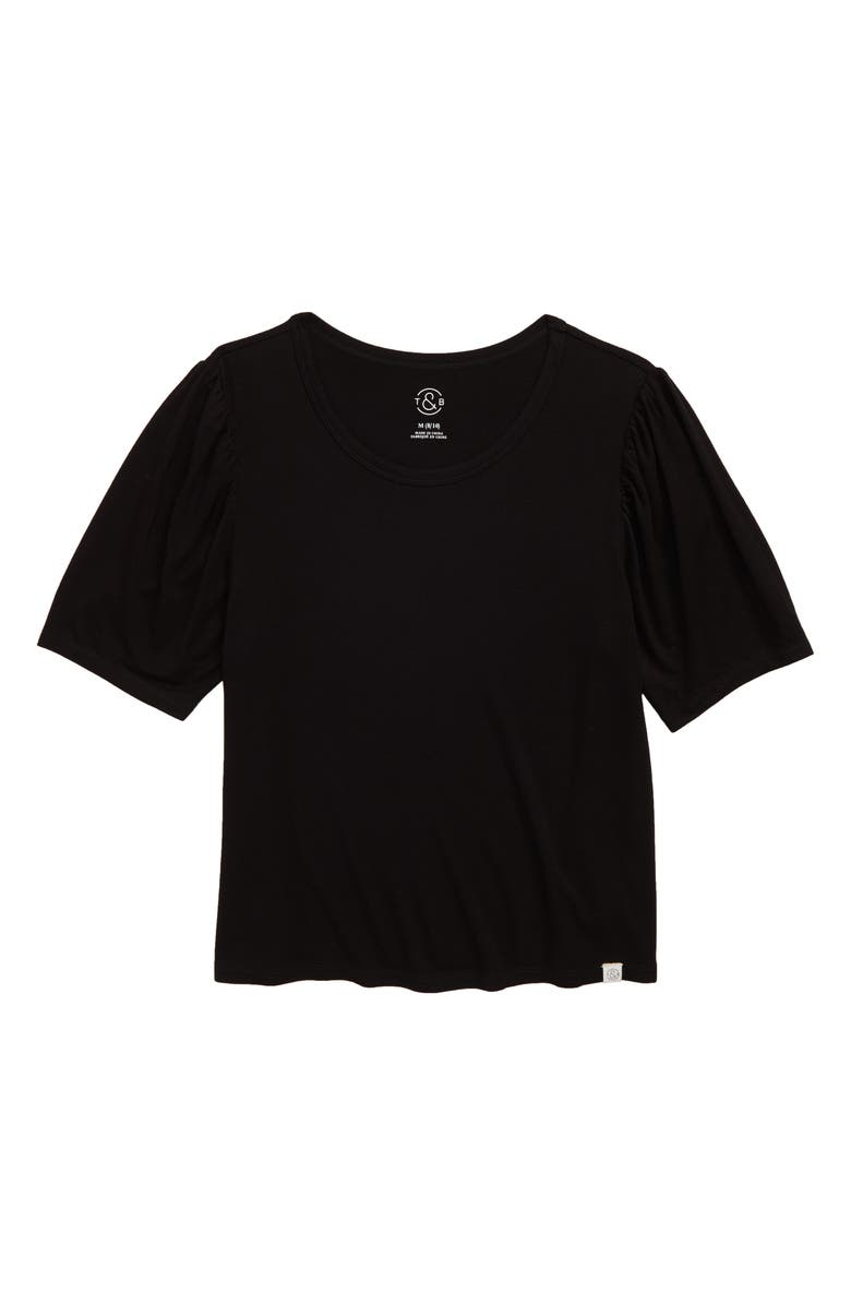 TREASURE & BOND Puff Sleeve Tee, Main, color, BLACK