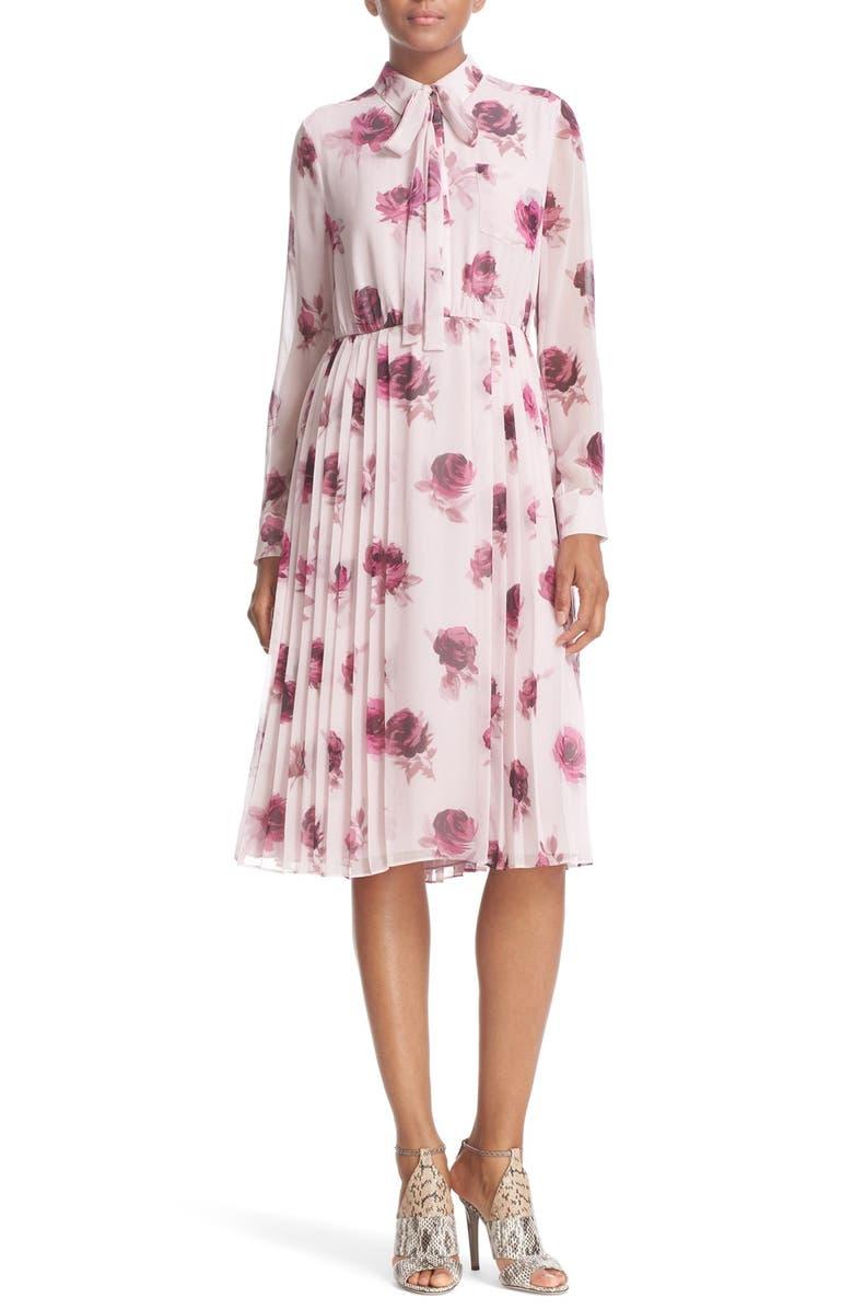 KATE SPADE NEW YORK 'encore rose' tie neck pleat chiffon dress, Main, color, 651