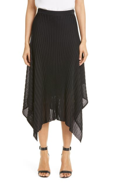 St. John PLEAT HANDKERCHIEF HEM RIB MIDI SKIRT