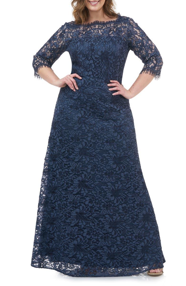 JS COLLECTIONS Bateau Neck Lace Gown, Main, color, MINERAL BLUE