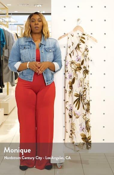 Mixed Tropical Garden Asymmetrical Hem Midi Dress, sales video thumbnail