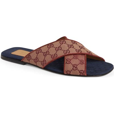 Gucci Gg Canvas Slide Sandal, Brown