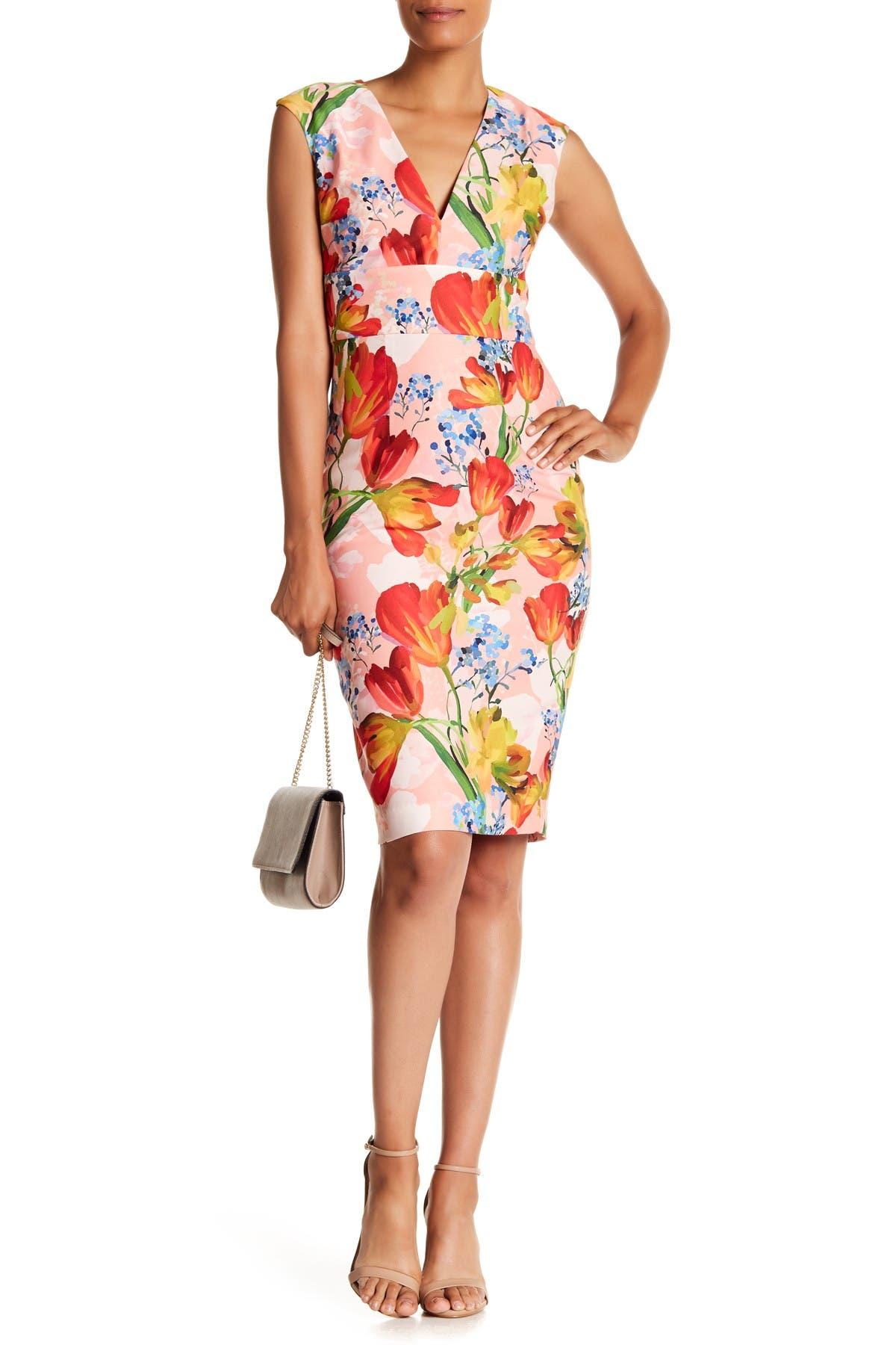 Image of Kay Unger Mixed Floral Print V-Neck Dress