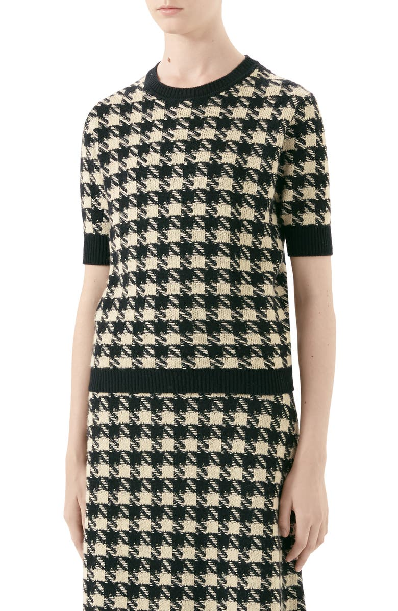 GUCCI Houndstooth Jacquard Cashmere & Silk Sweater, Main, color, IVORY/ BLACK