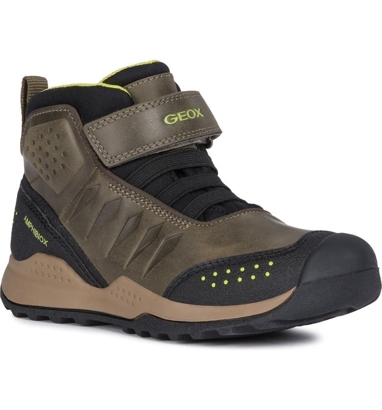 GEOX Teram Waterproof High Top Sneaker, Main, color, MILITARY/ LIME