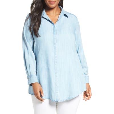 Plus Size Foxcroft Chambray Tunic, Blue