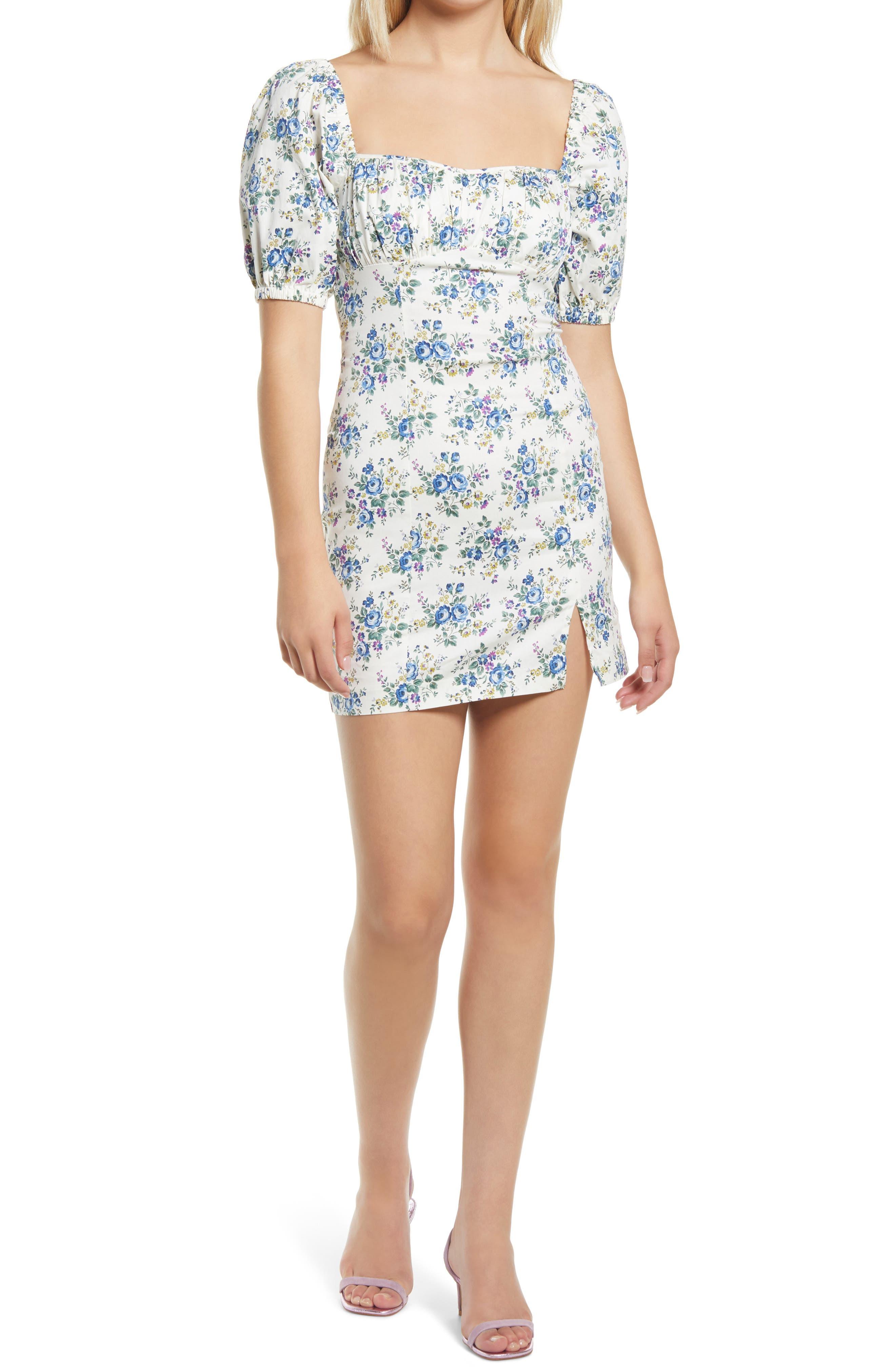 Puff Sleeve Stretch Cotton Minidress