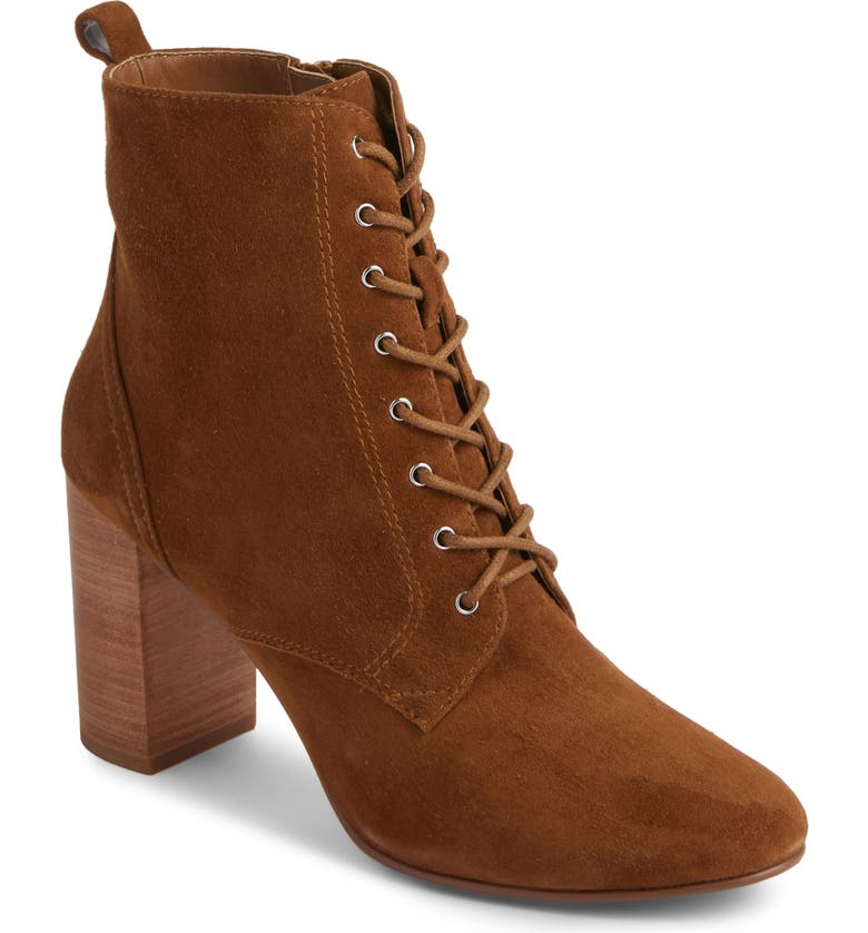 TREASURE & BOND Gram Lace-Up Bootie, Main, color, COGNAC SUEDE