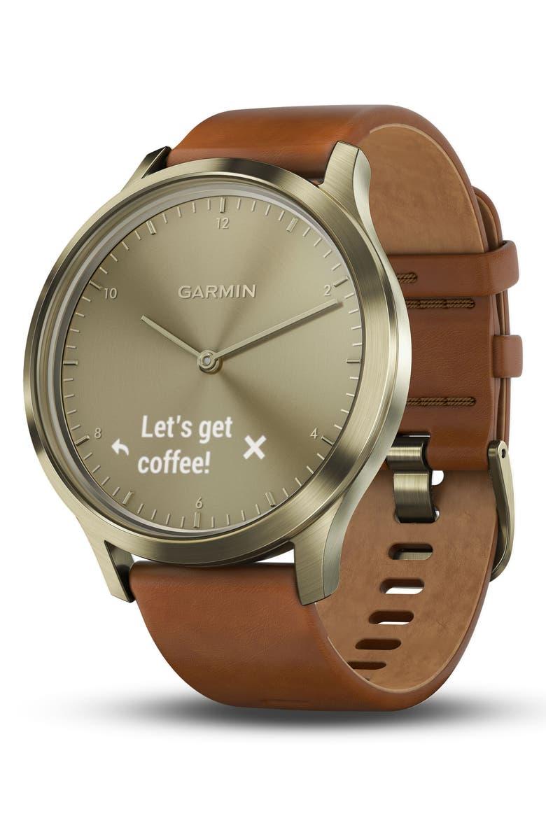 GARMIN Vivomove HR Hybrid Smart Watch, 43mm, Main, color, LIGHT BROWN/ GOLD/ GOLD