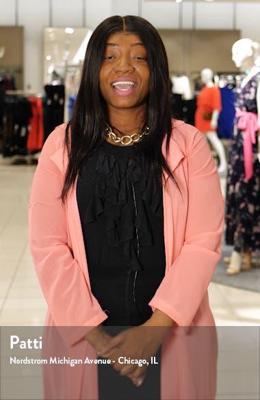 Faux Wrap Floral Long Sleeve Chiffon Dress, sales video thumbnail