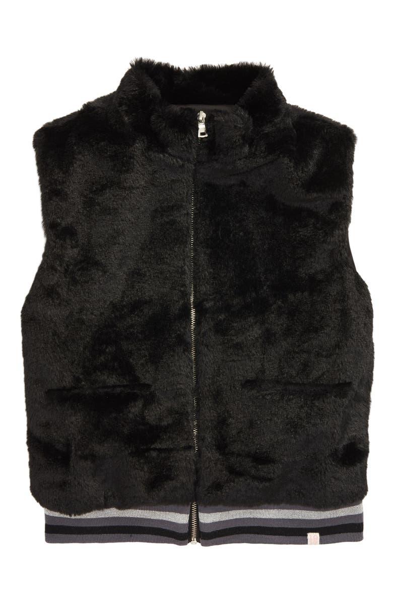 SOVEREIGN CODE Sharon Fuzzy Full Zip Vest, Main, color, BLACK