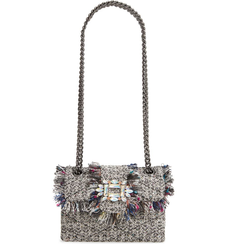 KURT GEIGER LONDON Mini Mayfair Tweed Crossbody Bag, Main, color, GREY