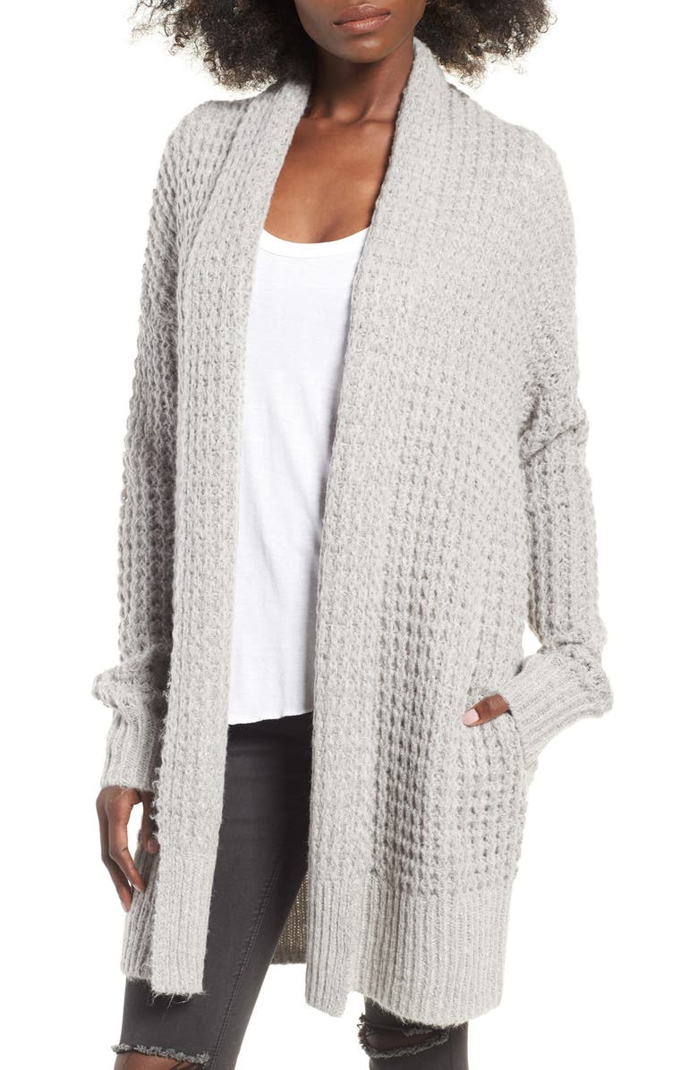 LEITH Waffle Knit Cardigan, Main, color, 030