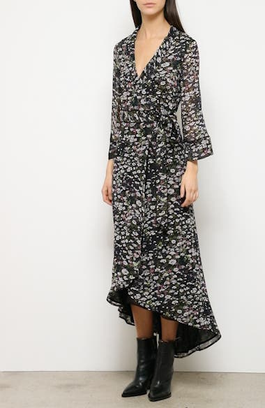 Floral Print Georgette Midi Wrap Dress, video thumbnail
