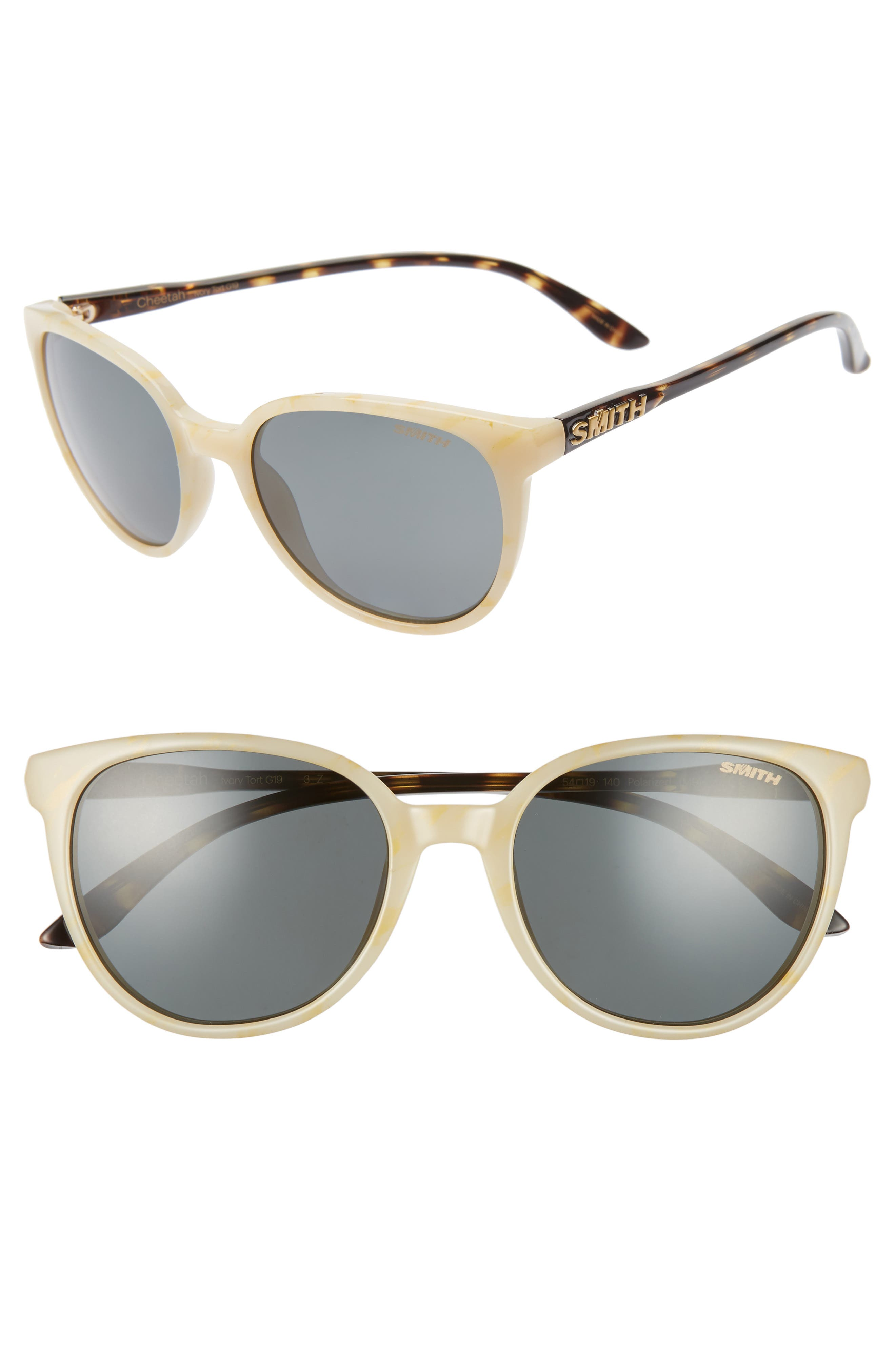 Cheetah 54mm ChromaPop<sup>™</sup> Polarized Round Sunglasses, Main, color, IVORY TORTOISE