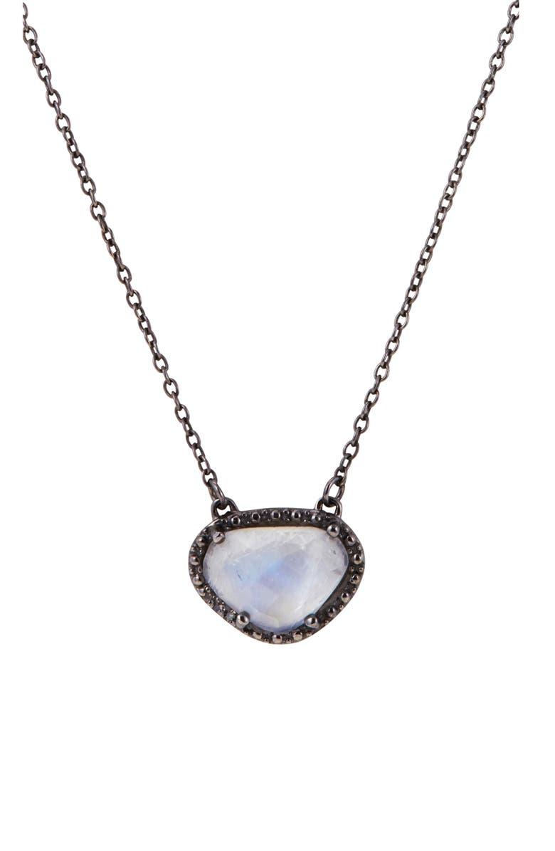ADORNIA Rose Cut Stone Pendant Necklace, Main, color, MOONSTONE BLACK RHODIUM