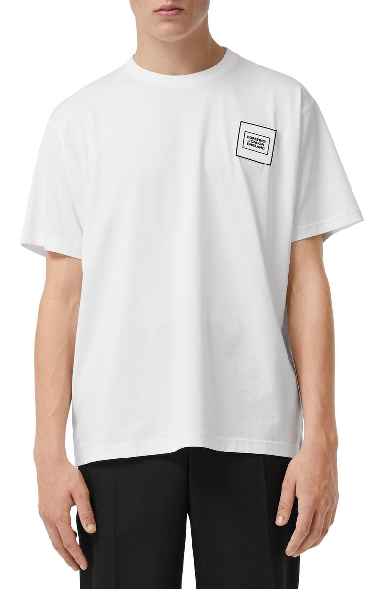 BURBERRY Karlford Globe Appliqué T-Shirt, Main, color, WHITE