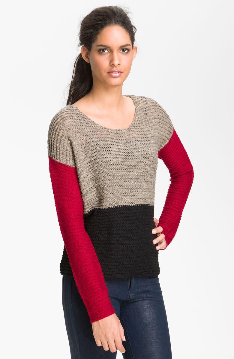 KENSIE Colorblock Textured Sweater, Main, color, 001