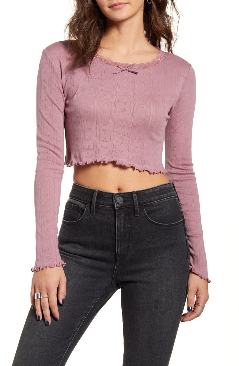 BDG URBAN OUTFITTERS Tulip Pointelle Top, Main, color, ROSE