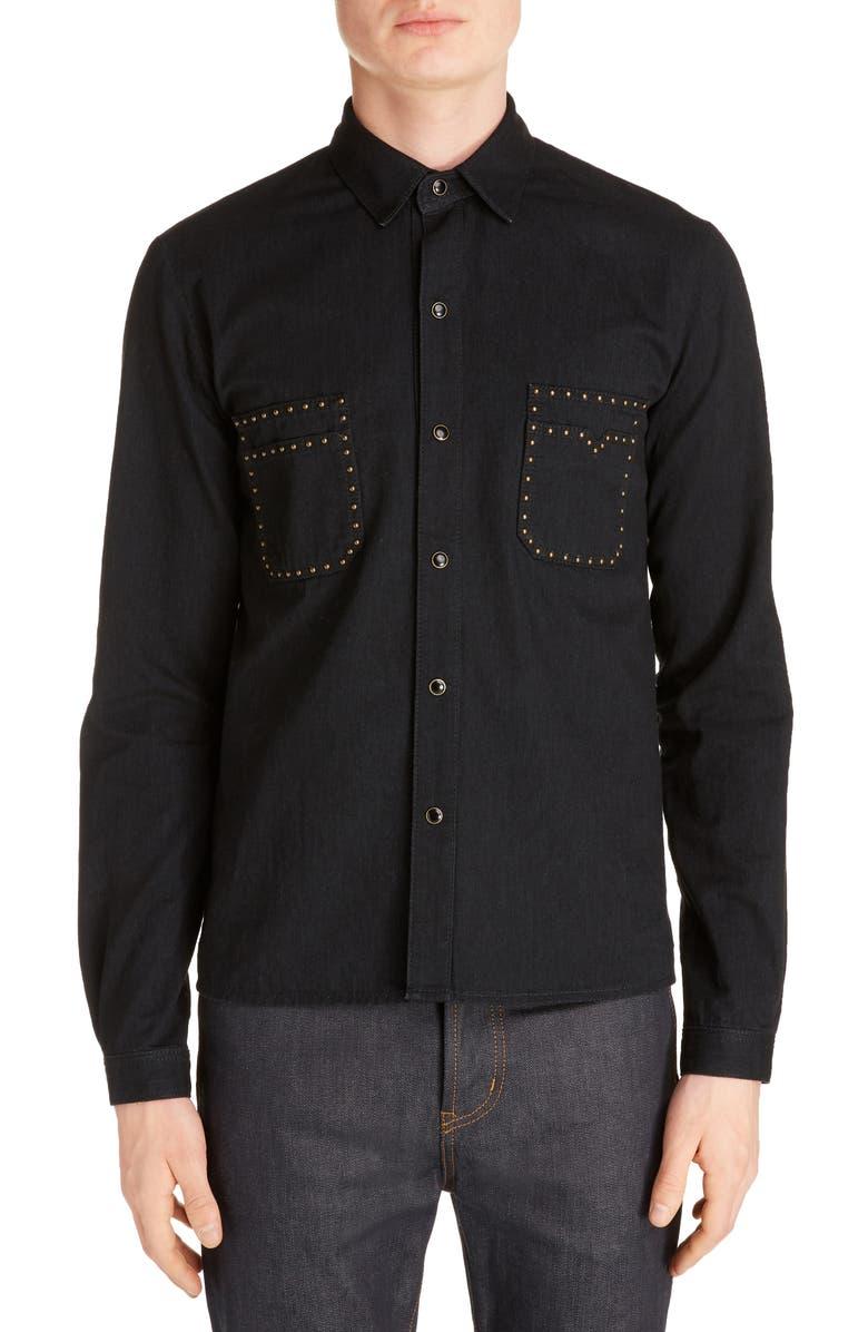 SAINT LAURENT Straight Fit Studded Snap-Up Shirt, Main, color, BLACK