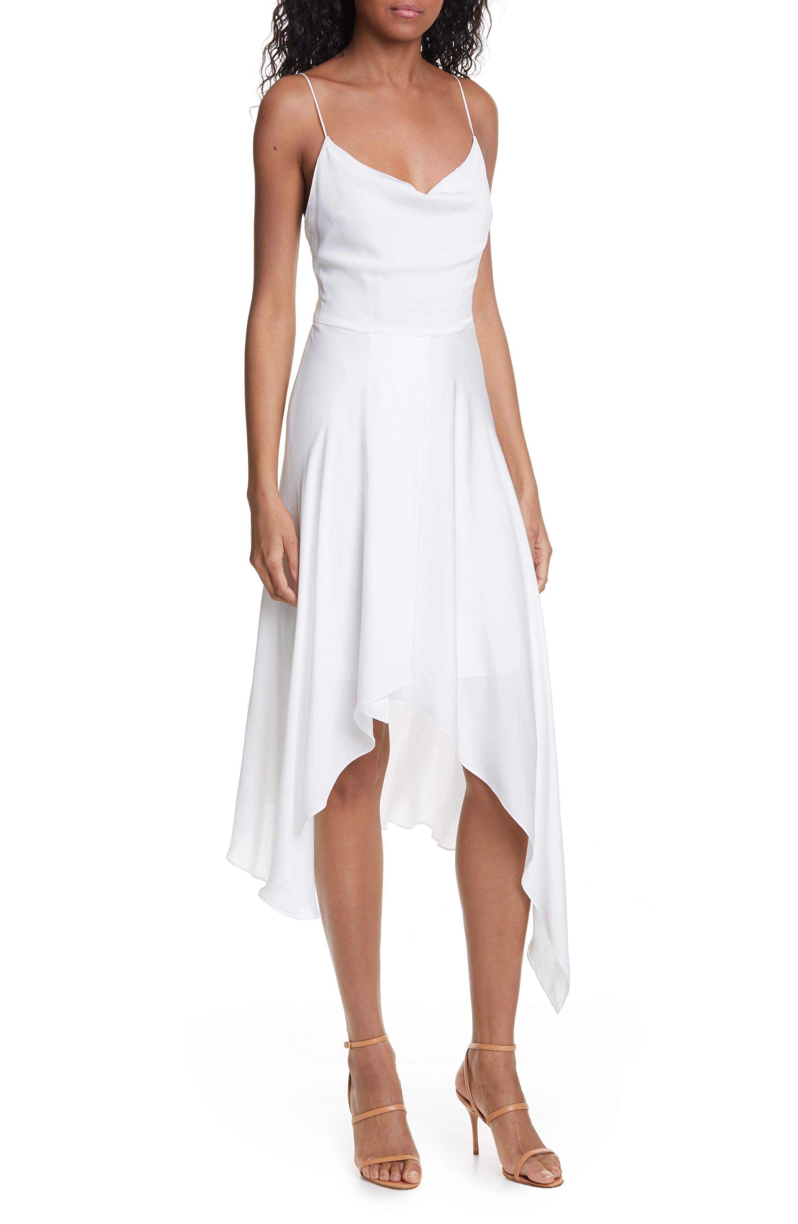 Alice + Olivia Alita Drape Detail Asymmetrical Hem Dress, White