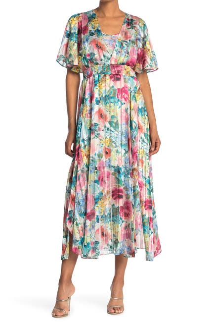 Image of Kensie Floral Smocked Waist Maxi Dress