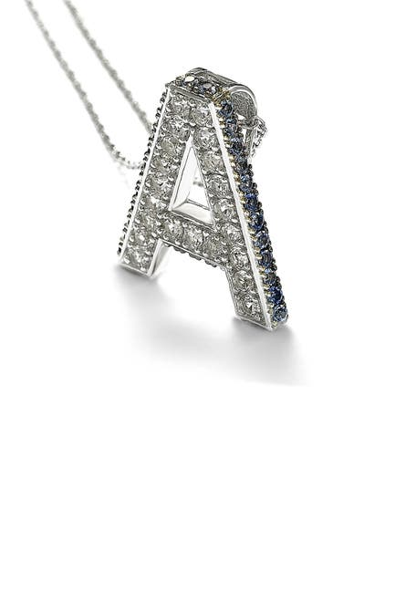 Image of Suzy Levian Sterling Silver Blue Sapphire, Created White Sapphire, & Brown Diamond Letter Pendant Necklace