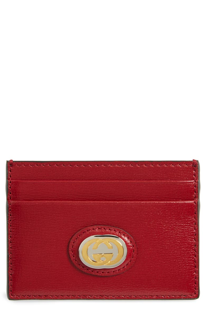 GUCCI Marina Logo Hardware Leather Card Case, Main, color, NEW CHERRY RED