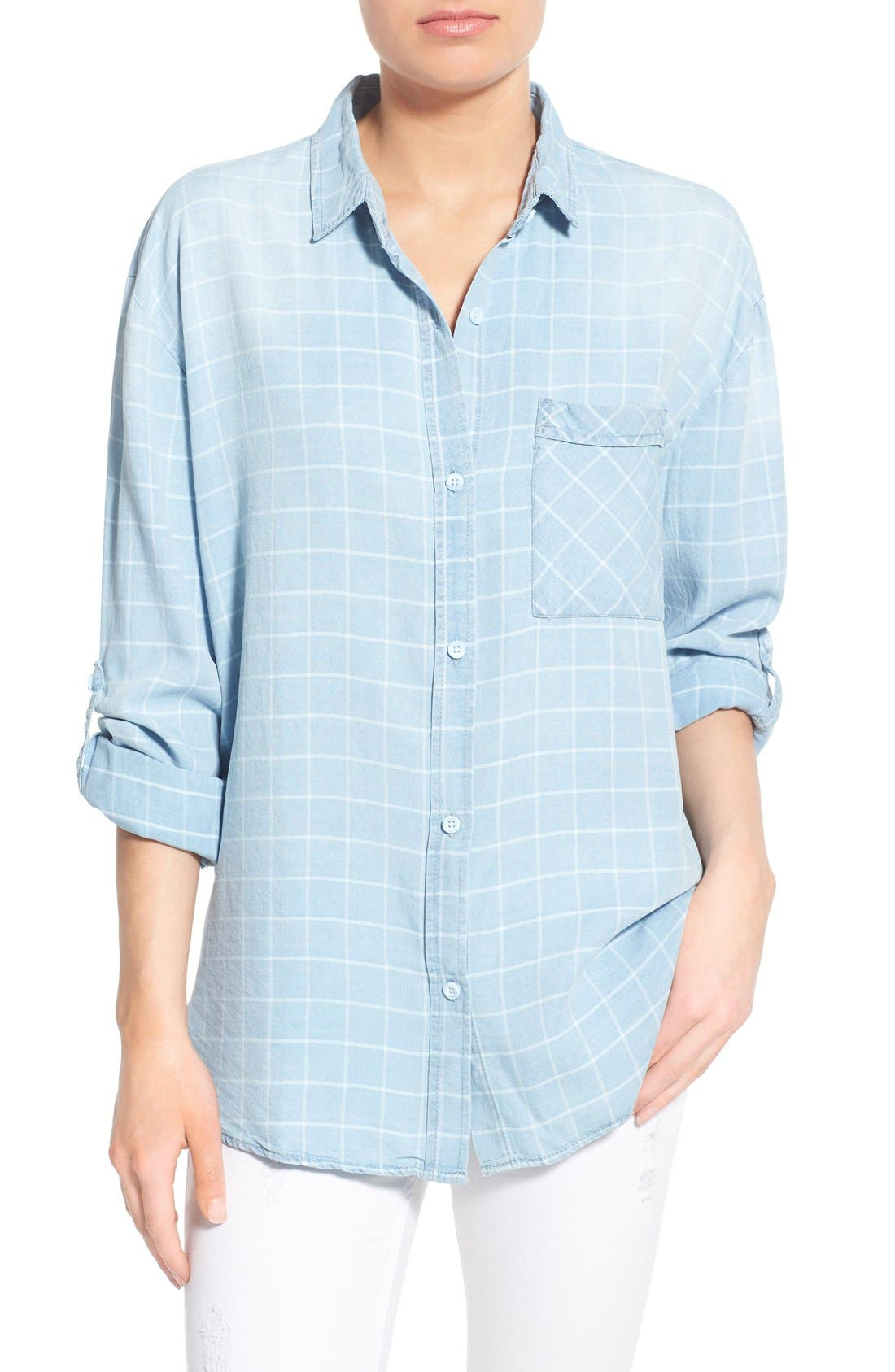 'Frankie' Check Chambray Button Front Shirt, Main, color, 400