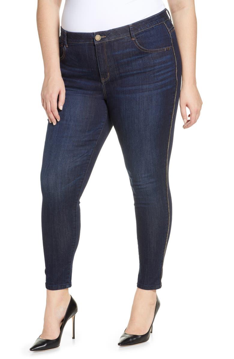 WIT & WISDOM Modern Ab-Solution High Waist Sparkle Side Stripe Ankle Skinny Jeans, Main, color, IN-INDIGO