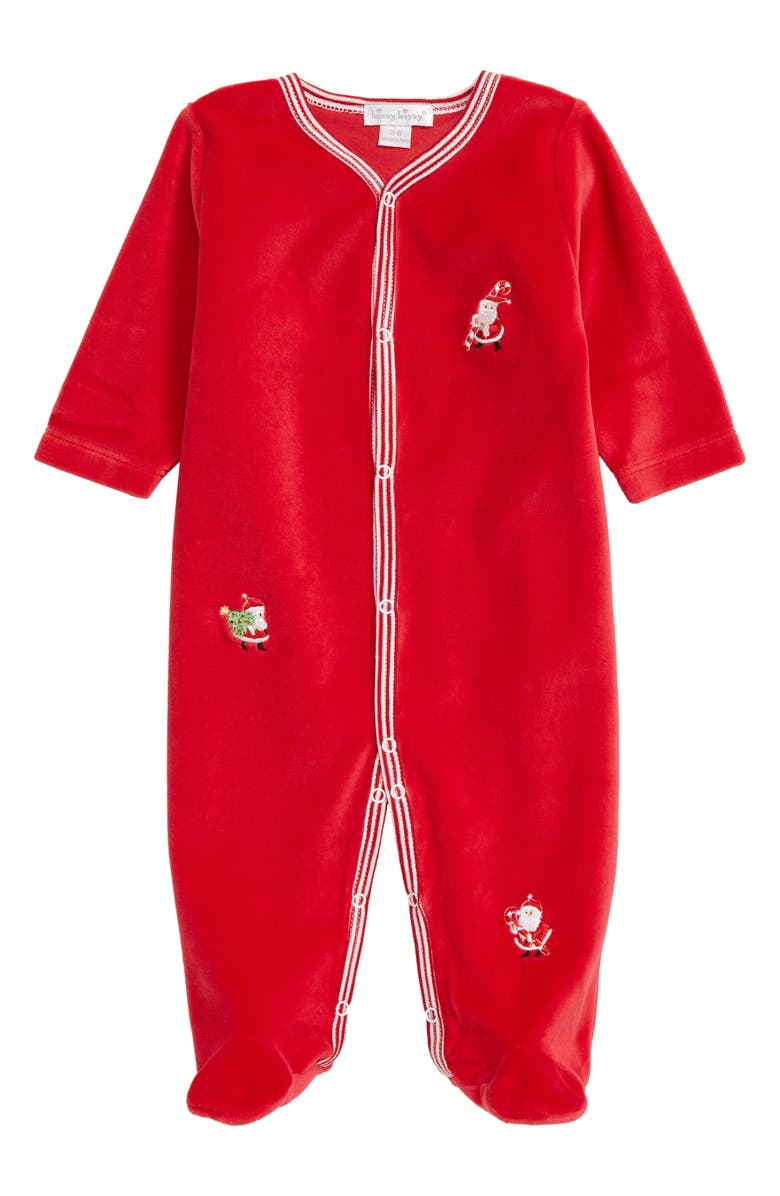 KISSY KISSY Embroidered Santa Velour Footie, Main, color, RED