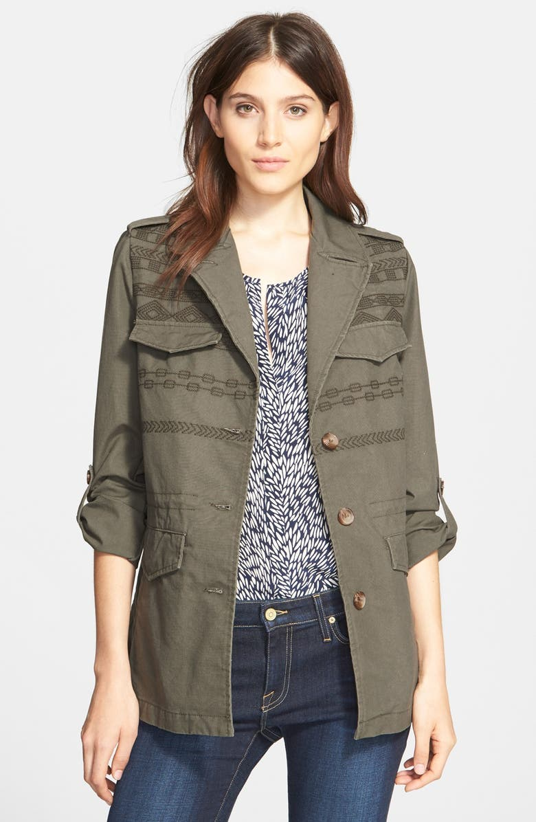 JOIE 'Evandale' Embroidered Military Jacket, Main, color, 344