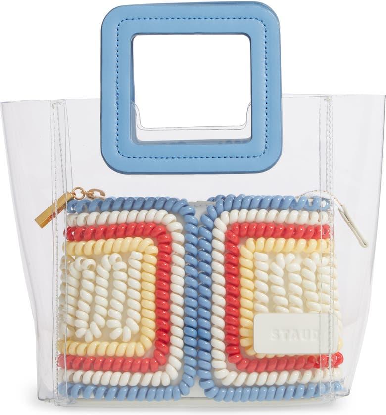 STAUD Mini Shirley Telephone Transparent Handbag, Main, color, SOFT WHITE/ MULTI